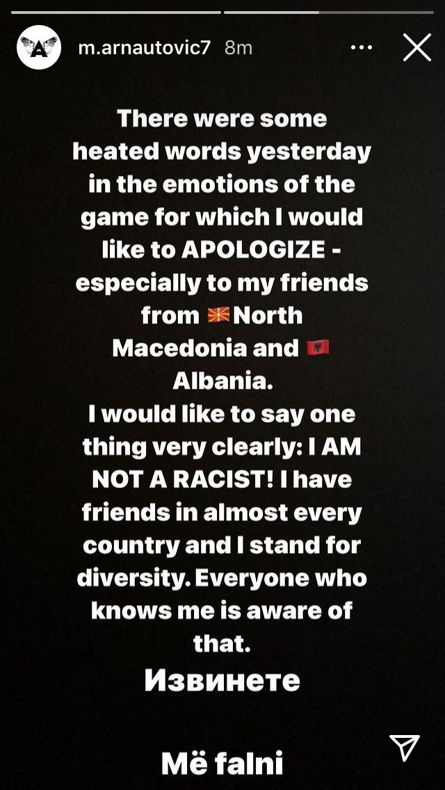 Αρναούτοβιτς: «Απολογούμαι, δεν είμαι ρατσιστής»