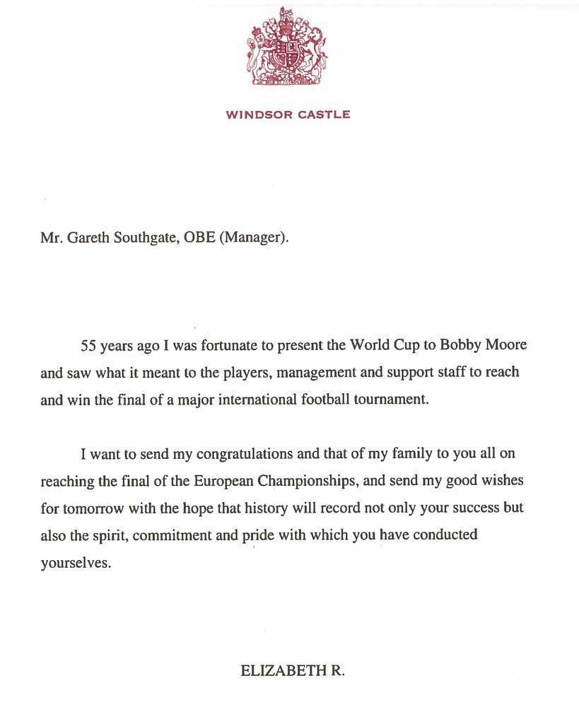 Σάουθγκεϊτ: Έλαβε μήνυμα από τη Βασίλισσα