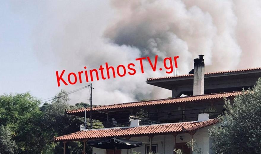 Mεγάλη πυρκαγιά στην Κορινθία – Μήνυμα του 112 για εκκένωση