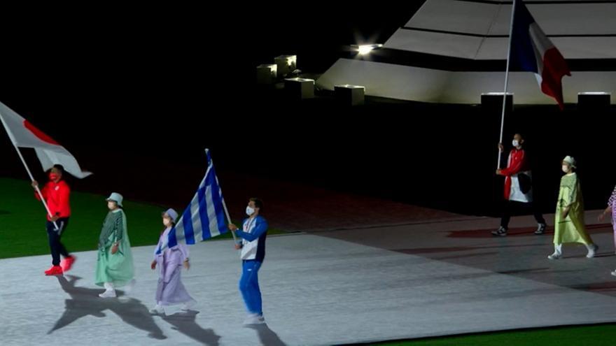 Η είσοδος του σημαιοφόρου Φουντούλη στην τελετή λήξης