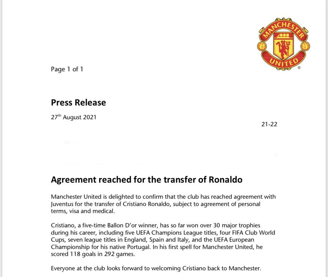 Μάντσεστερ Γιουνάιτεντ: Ανακοίνωσε την επιστροφή Ρονάλντο
