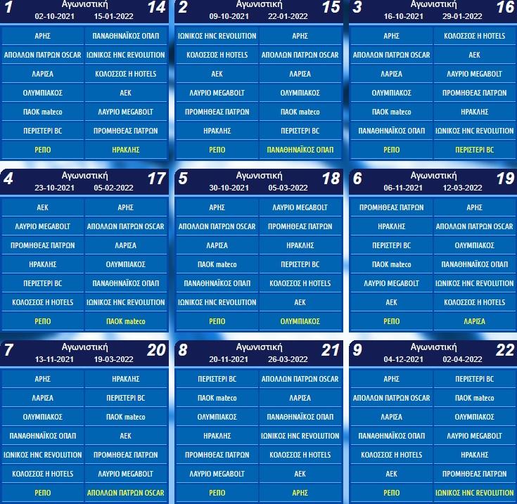 Ολυμπιακός-ΑΕΚ στην πρεμιέρα, την 8η αγωνιστική οι αιώνιοι