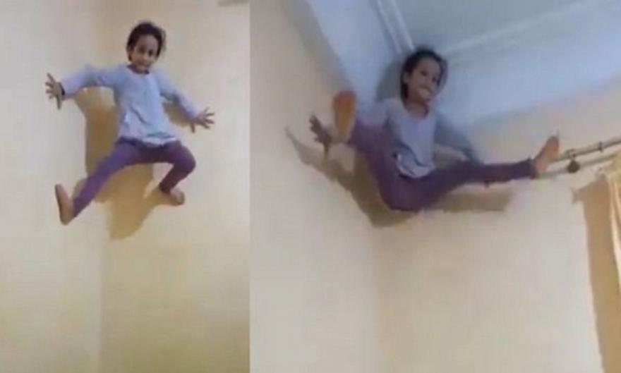 Πιτσιρίκα-Spider Man σκαρφαλώνει με άνεση πάνω σε τοίχο